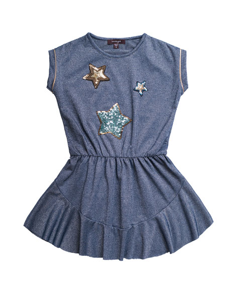Imoga Solid Jersey Dress w/ Star Sequin Patches, Size 7-14