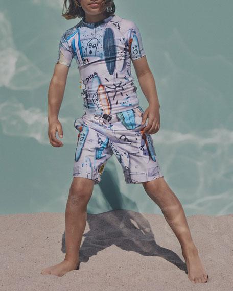 Molo Nalvaro Contrast Skateboard-Print Board Shorts, Size 3T-12