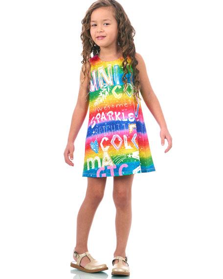 Hannah Banana Rainbow Scuba Sleeveless Dress, Size 7-14