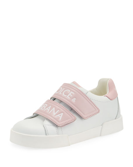 Dolce & Gabbana Double-Strap Two-Tone Leather Logo Sneakers, Kids