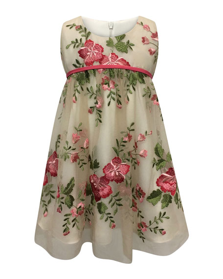 Helena Floral Embroidery Lace Dress, Size 2-6