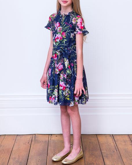 David Charles Dot Floral Chiffon High-Neck Dress, Size 8-16
