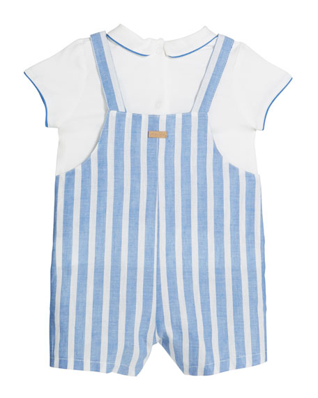 Mayoral Striped Overalls w/ Short-Sleeve Shirt, Size 2-12 Months