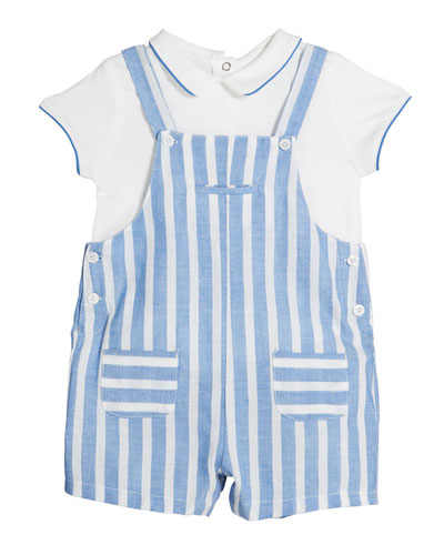 Striped Overalls w/ Short-Sleeve Shirt  Size 2-12 Months