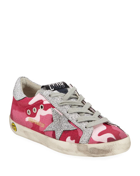 Golden Goose Girls' Superstar Glittered Camo Low-Top Sneakers, Toddler/Kids