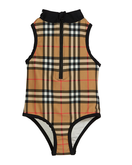 Burberry Siera Check One-Piece Swimsuit, Size 3-14