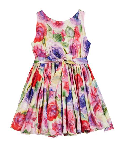 Helena Pastel Rose Print Knit Dress, Size 2-6