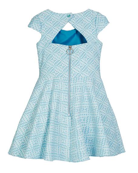 Zoe Metallic Studded Knit Pocket Dress, Size 4-6X