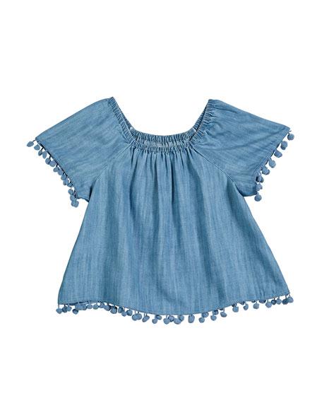 Splendid Chambray Short-Sleeve Top w/ Hanging Pompom Trim, Size 7-14