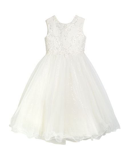 Joan Calabrese Lace & Sequin Tulle Tea Length Dress, Size 6-12