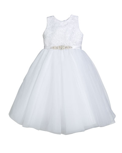 Tulle Embroidered Dress w/ Crystal Belt  Size 3-12