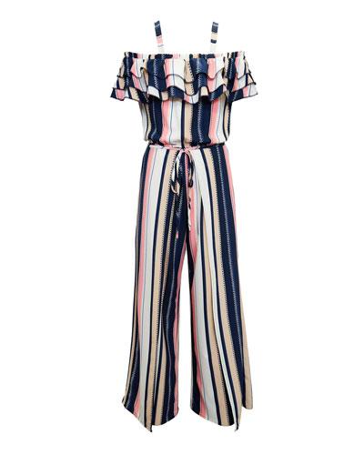Multi-Stripe Off-the-Shoulder Jumpsuit  Size 7-16
