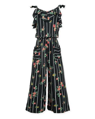 Stripe & Floral Ruffle-Trim Jumpsuit  Size 7-16