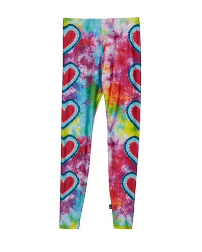 Big Love Tie Dye Hearts Print Leggings  Size 7-16