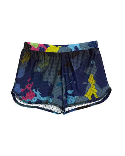 Deep Sea Camo Print Mesh Athletic Shorts  Size 7-16