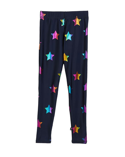 Rainbow Star Foil Printed Leggings  Size 7-16