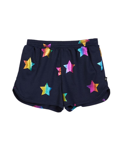 Rainbow Star Foil-Print Shorts  Size 7-16