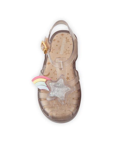 Mini Melissa Possession III Glittered Star Cutout Sandal, Baby/Toddler/Kids