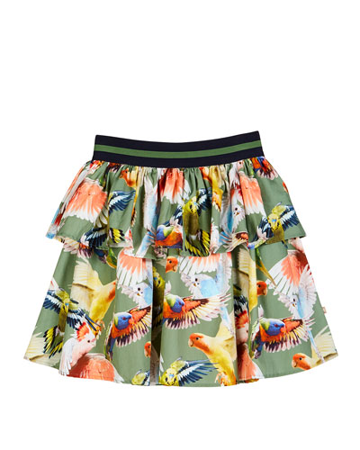Brianna Tiered Woven Budgies Print Skirt  Size 3T-12