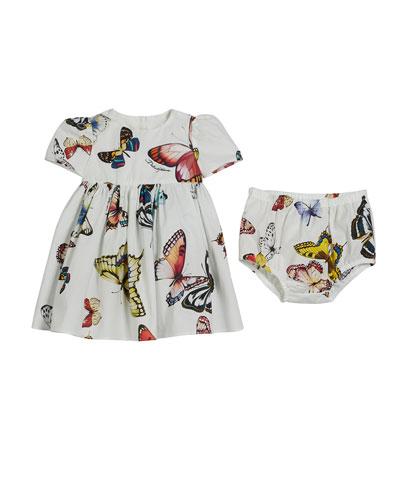 Butterfly-Print Poplin Dress w/ Bloomers  Size 6-30 Months