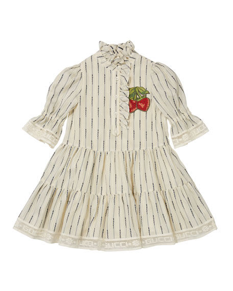 Gucci Girls' Ruffled Dress w/ Embroidered Strawberries, Size 4-12