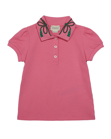 Image 1 of 1: Puffy Sleeve Polo Shirt w/ Collar Detail, Size 4-12