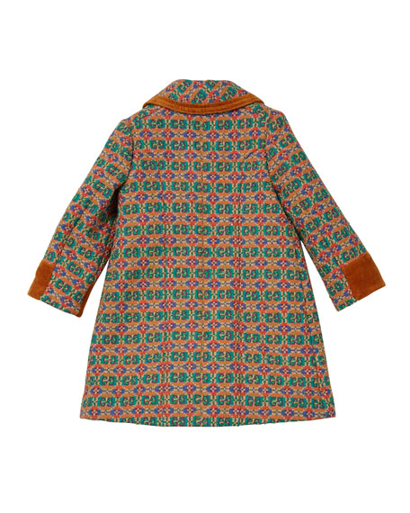 Gucci Girls' GG Long Coat w/ Contrast Piping & Cuffs, Size 4-12