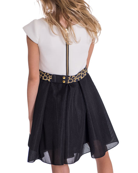 Zoe Brielle Two-Tone Knit Dress w/ Metallic Belt, Size 4-6X