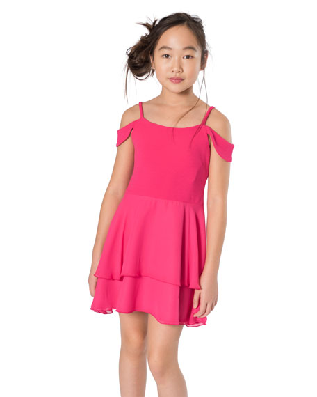 Zoe Sofie Drape Shoulder Two-Tone Dress, Size 7-16