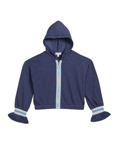 Girl's Rainbow Zip-Up Hooded Jacket  Size S-XL
