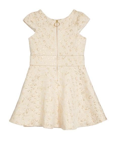 Zoe Metallic Leopard Jacquard Swing Dress, Size 7-16