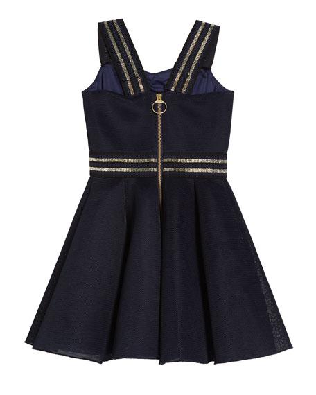 Zoe Hey Girl Swing Dress w/ Metallic Stripe Accents, Size 7-16