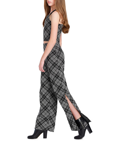 Sally Miller The Bea Check Cropped Top w/ Wide Leg Pants, Size S-XL