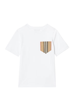 Burberry Boy's Short-Sleeve Icon Stripe Pocket Tee, Size 3-14