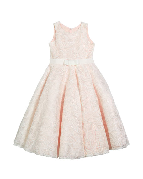 White Label by Zoe Girl's Gennavieve Lace Pearly Sleeveless Dress, Size 4-10
