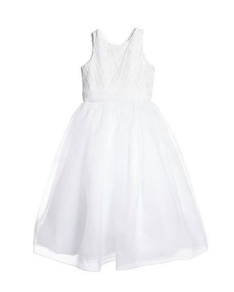 Image 2 of 3: White Label by Zoe Girl's Maryann Sequin Organza Dress, Size 6-12