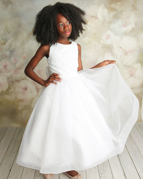 Image 1 of 3: White Label by Zoe Girl's Maryann Sequin Organza Dress, Size 6-12