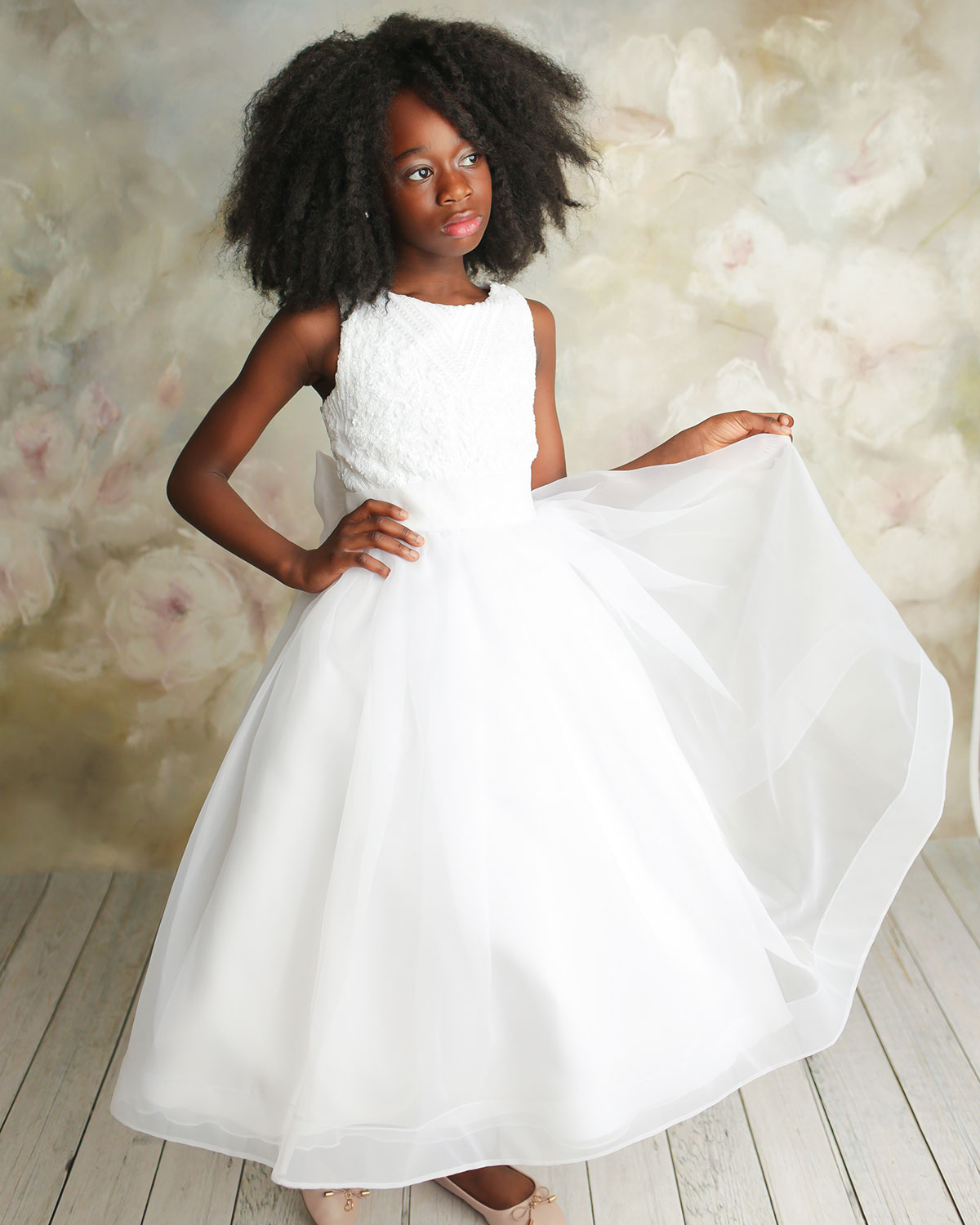 White Label by Zoe Girl's Maryann Sequin Organza Dress, Size 6-12