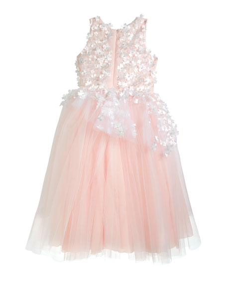Image 2 of 3: White Label by Zoe Girl's Lauren 3D Flower Embellished Tulle Dress, Size 4-12