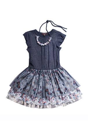Imoga Girl's Yvette Tiered Dress w/ Necklace, Size 3-6