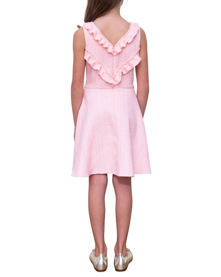 Image 2 of 4: David Charles Girl's Sleeveless Ruffle-Collar Tweed Dress, Size 10-16