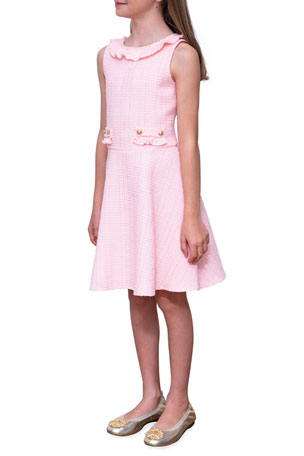 David Charles Girl's Sleeveless Ruffle-Collar Tweed Dress, Size 10-16