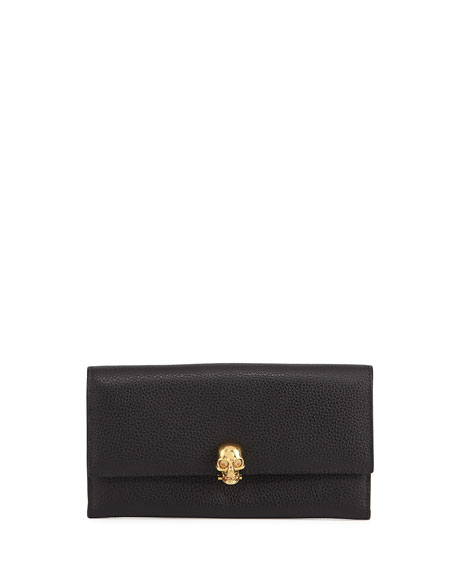 Alexander McQueen Skull Continental Leather Wallet, Black