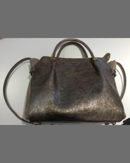 Nina Ricci Marche Small Lambskin/Suede Satchel Bag, Gold