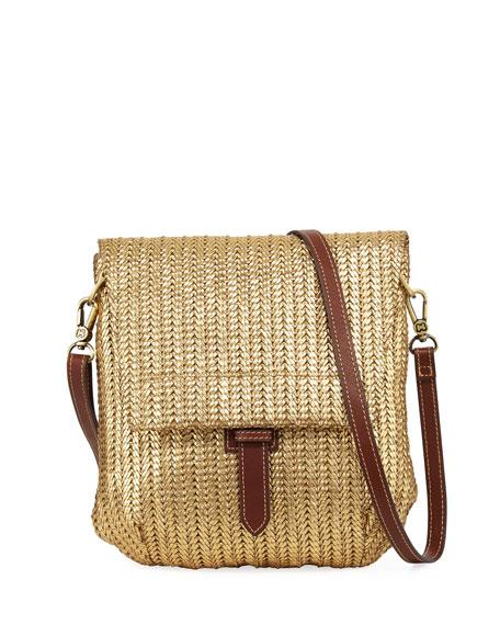 Jade Flap-Top Crossbody Messenger Bag, Gold