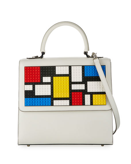 Alex Mondrian Large Satchel Bag, White