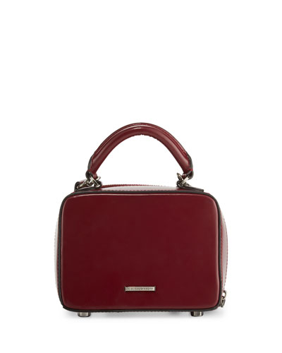 Leather Box Crossbody Bag, Red