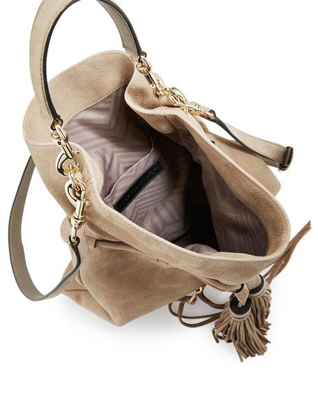 Large Moto Drawstring Crossbody Bag