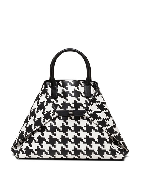 Akris Ai Medium Top-Handle Houndstooth Shoulder Bag