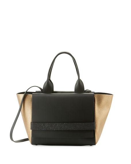 Brunello Cucinelli Small Tricolor Flap Tote Bag, Dark